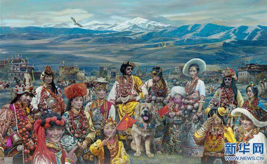 (新华网西藏频道)一场以藏獒为题材的油画展在拉萨举行