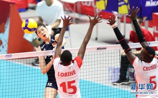 (体育)(5)排球――女排世界杯:中国队战胜肯尼亚队