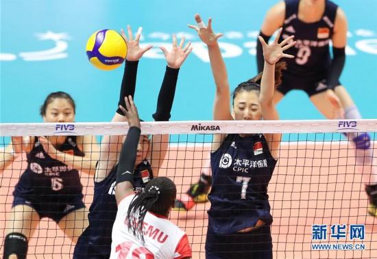 (体育)(2)排球――女排世界杯:中国队战胜肯尼亚队