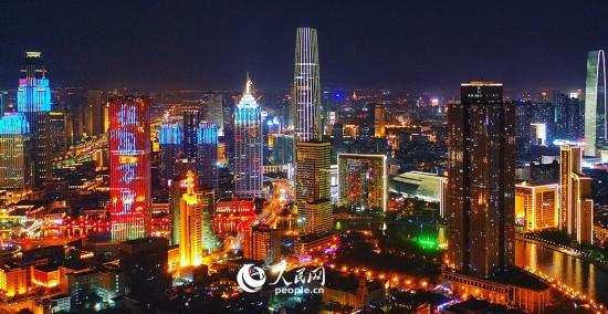 天津市世纪钟广场周边夜景。 王  伟摄