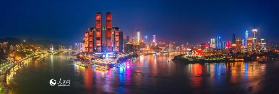 重庆两江朝天门码头夜色。唐安冰 摄