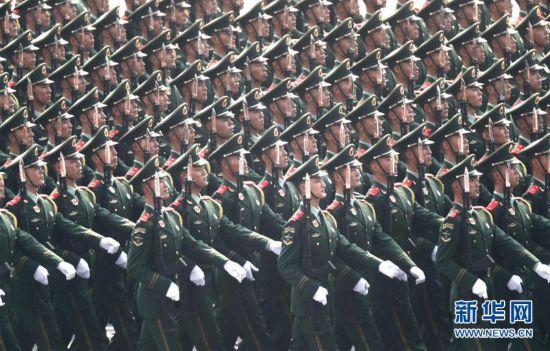 武警部队方队:永远做党和人民的忠诚卫士