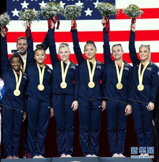 (体育)(4)体操――hi合乐分分彩刷钱,世锦赛女子团体决赛:美国队获冠军