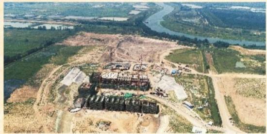 正在建设中的蜀山泵站枢纽工程