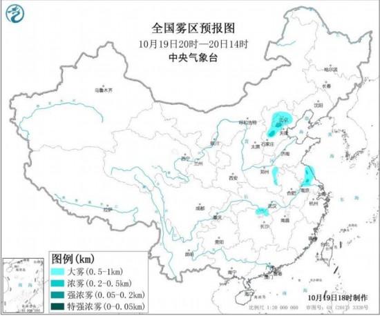 19日夜间北京、天津、河北部分地区有重度霾