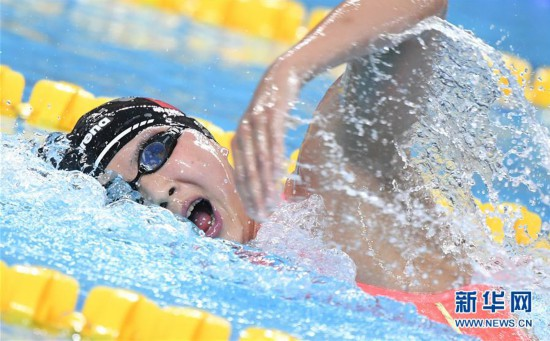 (军运会)(1)游泳――女子1500米自由泳:王简嘉禾夺冠