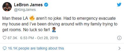 加州山火持续肆虐,詹姆斯等名人也未能幸免,好莱坞明星纷纷撤离