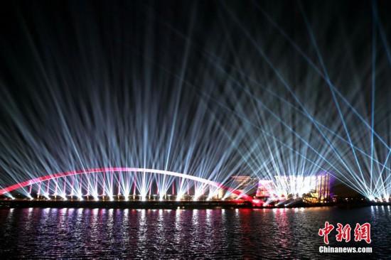 台北故宫南部院区举办灯光秀