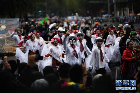 (国际)(6)墨西哥城举行亡灵节游行