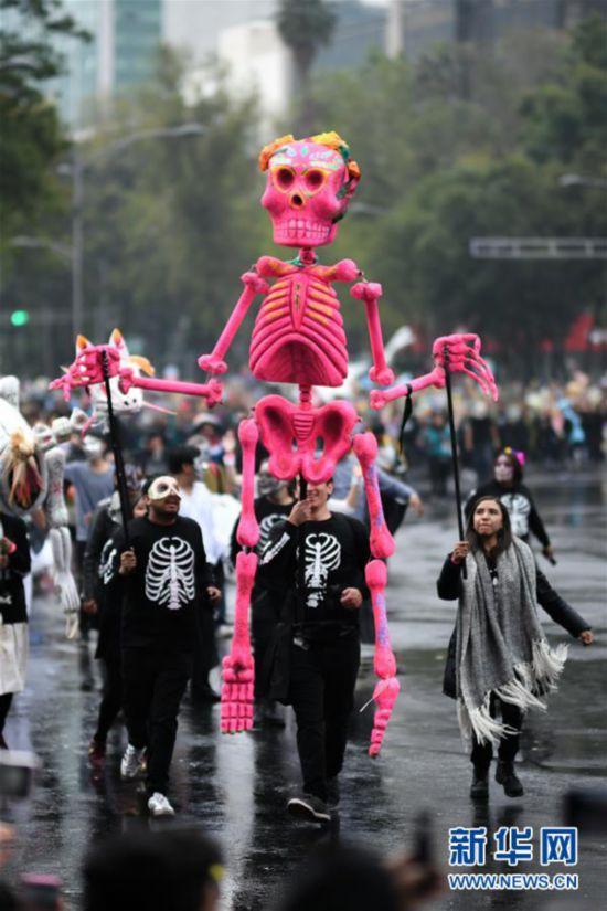 (国际)(5)墨西哥城举行亡灵节游行