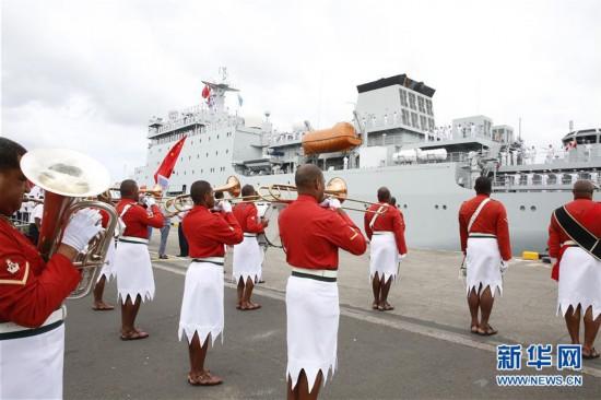 (国际)(1)戚继光舰结束对斐济访问启程回国