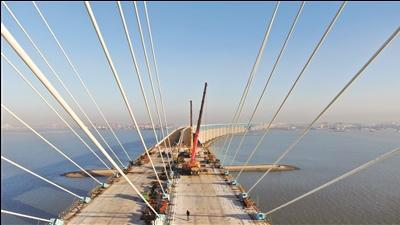 滬通長江大橋最后兩根斜拉索架設到位