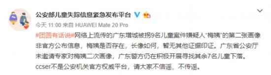 """公安部:网络流传""""梅姨""""二次画像非官方公布"""