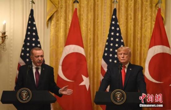 当地时间11月13日,美国总统特朗普与土耳其总统埃尔多安在白宫会晤。<a target='_blank'  data-cke-saved-href='http://www.chinanews.com/' href='http://www.chinanews.com/'><p  align=