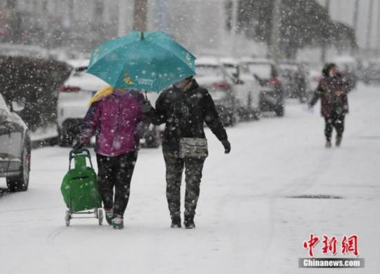 11月13日、雪の街中を移動する長春市民(撮影・張瑶)。