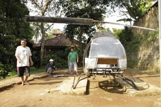 受不了堵车,印尼男子花1万多元自制直升机:能飞起来我就高兴