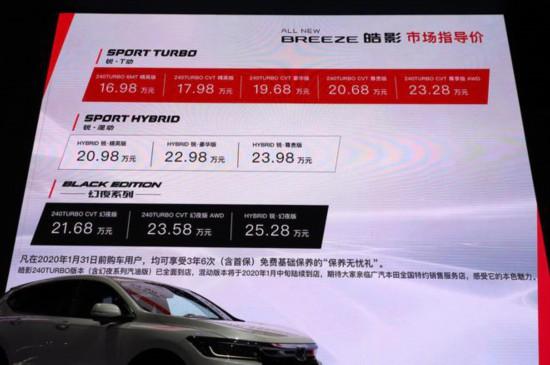 售价16.98-25.28万元 在网上赚钱的工作,广汽本田皓影正式上市