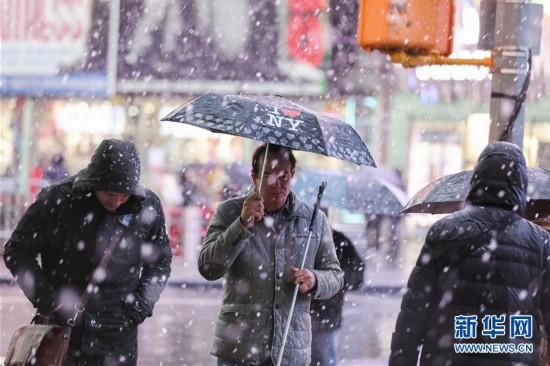 (国际)(1)纽约遭遇雨雪天气