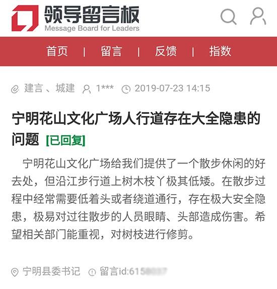 网友在人民网地方领导留言板上给宁明县委书记的留言截图(资料图)