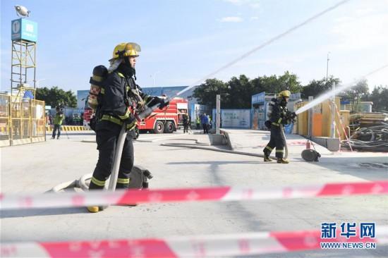 福建泉州举行建筑施工消防安全事故应急救援演练