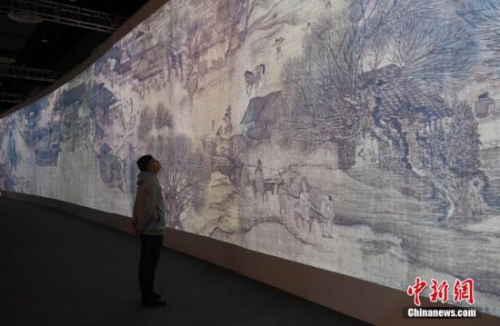 浙江绍兴展出《清明上河图3.0》活化图景引人参观
