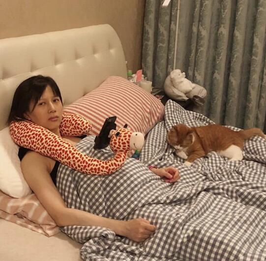 papi酱怀孕后首晒照素颜躺床上配文超搞笑