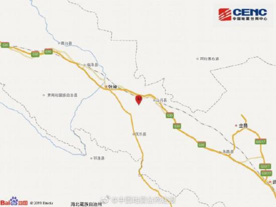 甘�C��掖市山丹�h�l生3.3�地震震源深度13千米