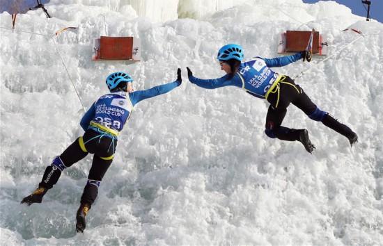 (体育)(2)攀冰――国际登联攀冰世界杯中国(长春)站闭幕