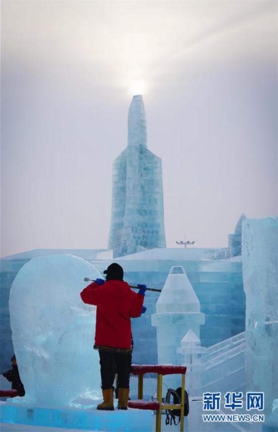 (社会)(1)中国哈尔滨国际冰雕比赛开赛