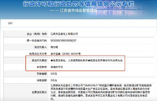 江蘇響水特別重大爆炸事故案涉事企業被吊銷許可証