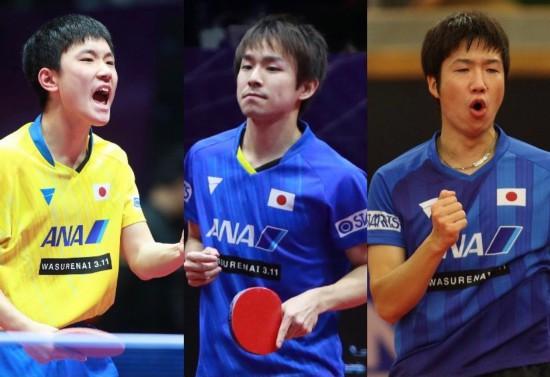 日本卓球男子チームの出場選手。