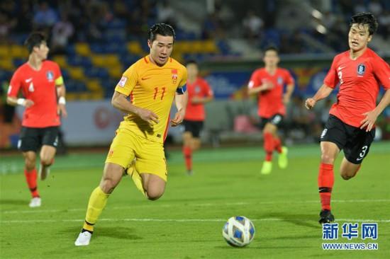 (體育)(10)足球——亞足聯U23錦標賽:中國隊負韓國隊