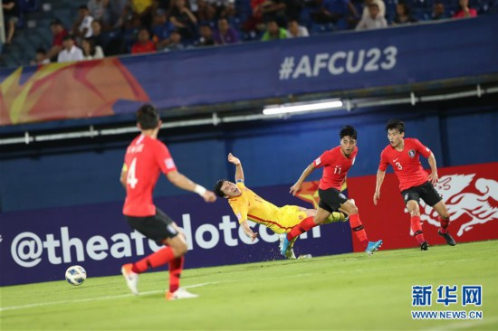 (體育)(11)足球——亞足聯U23錦標賽:中國隊負韓國隊