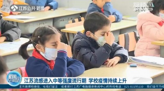 江蘇流感進入中等強度流行期 學校疫情持續上升