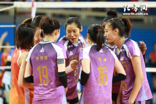 天津女排3-1击败上海赛季全胜成就联赛12冠王