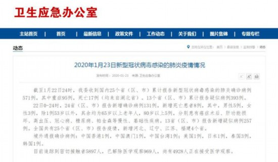 卫健委:新型冠状病毒感染肺炎确诊571例死亡17例小狗疫苗
