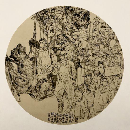 《同心战疫》  朱凡  中国画.jpg