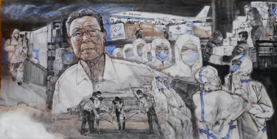 《最美逆行者,为抗击疫情的英雄们加油!》 王东明 中国画 68×136cm 2020年.jpg