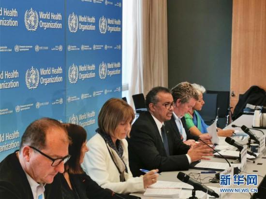 2月11日、スイス・ジュネーブで開かれた世界保健機関(WHO)の記者会見で発言するテドロス事務局長(撮影・陳俊侠)。