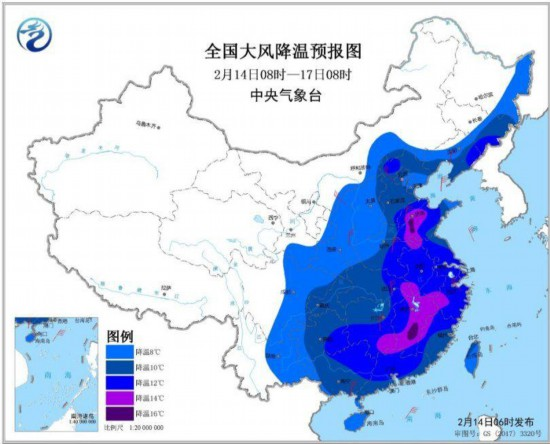 中东部地区有大范围雨雪天气寒潮将影响全国大部