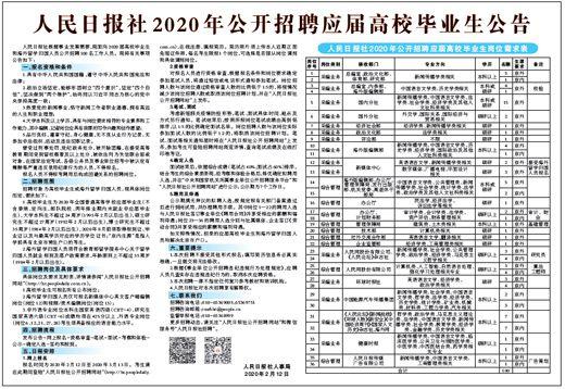 人民日报社2020年公开招聘应届高校毕业生公告