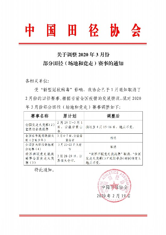 中国田协:竞走奥运会选拔赛推迟至4月15日举办