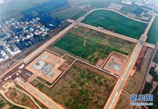 二里頭考古遺跡公園(2019年10月16日、ドローンによる撮影・李安)。