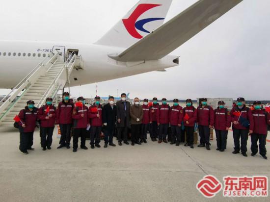 福建省选派的中国政府第三批赴意大利抗疫医疗专家组抵达米兰