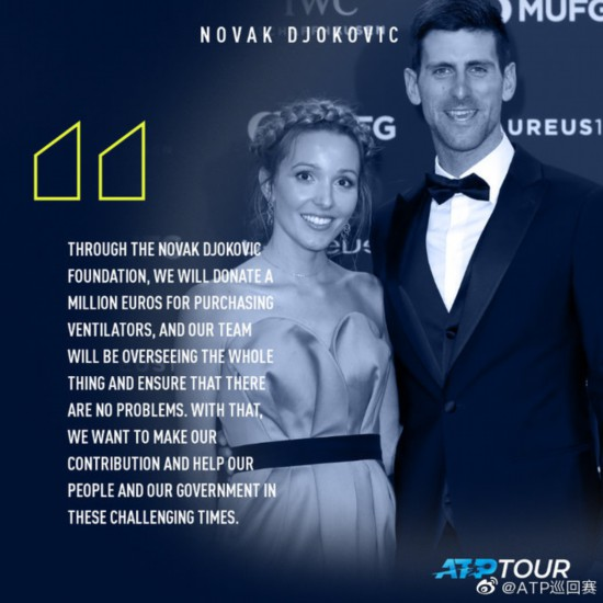 德约科维奇夫妇为抗击疫情捐款100万欧元