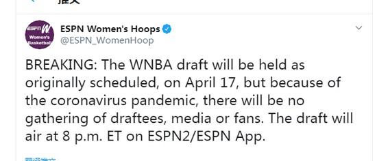 WNBA选秀4月17日进行权威机构预测两中国球员入选
