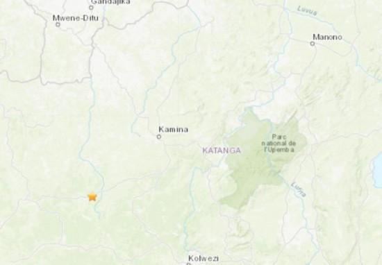 刚果(金)南部发生5.2级地震震源深度约10公里