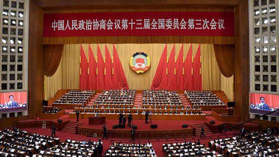 全国政协十三届三次会议举行第二次全体会议。新华社记者 金良快 摄