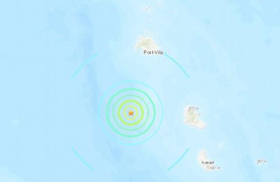 瓦努阿图群岛南部海域6.1级地震震源深度10公里