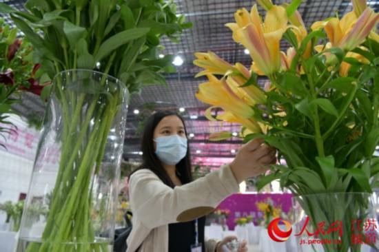 图为观众在第八届东海花博会现场欣赏花卉。张开虎/摄
